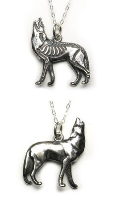 Solid sterling silver howling wolf pendant or charm with skeleton etched on one side, antique patina