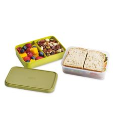 Perfect for tasty work lunches...the Joseph Joseph - Space-saving Lunch Box comes with compartments for all the elements of your lunch.