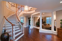 42 ideas for villa stairs plan Villa Plan, Stairs Window, House Stairs, Wooden Staircases, Curved Staircase, Stairways, Future House, My House, Farm House
