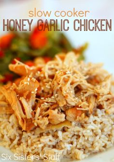 Six Sisters Slow-Cooker-Honey-Garlic-Chicken-Recipe is an easy dinner.  Just put it all in the slow cooker and forget about it!