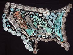 """""""United States of Turquoise"""" from Perry Null Trading Company Trading Post in Gallup, New Mexico that serves the Navajo, Zuni, & Hopi Reservations. Retail/Wholesale of authentic handmade Native American Art. This photo was pinned from their Facebook page."""