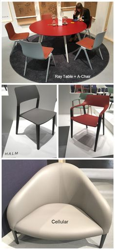 Brunner Ray Table, A-Chair, HALM Chairs and Cellular Sofas.