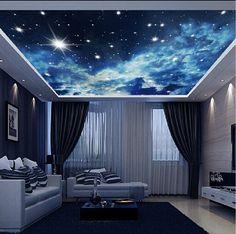 White Clouds Night Sky Wallpaper Wall Decals Wall Art Print Business Kids Wall Paper Nursery Mural Home Decor Removable Wall Stickers Ceiling Decal Purple Galaxy Wallpaper, Ceiling Murals, Sky Ceiling, Ceiling Installation, Ceiling Beams, Ceiling Lights, Bed In Living Room, False Ceiling Design, Cool Ideas