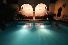 Night swimming at the Diplomat Boutique Hotel   #travel #wander #pooldesign #colonialstyle #design #Merida #MID #Yucatan #Mexico