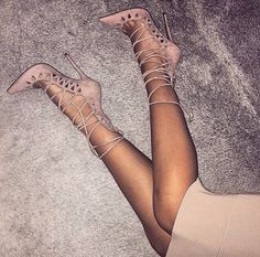 shoes pumps pastel pink laced up skinny skirt