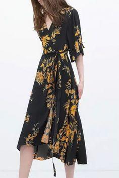 Vintage Floral Print 3/4 Sleeve Surplice Front  Style Surplice Midi dress