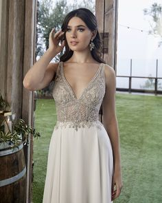 Style 2422 Zoey | Simple Chiffon and Beaded Wedding Dress by Casablanca Bridal | Casablanca Bridal Formal Dresses For Weddings, Wedding Dress Styles, Wedding Gowns, Hippie Chic, Casual Fall Wedding, Casablanca Bridal Gowns, Casual Gowns, Beaded Chiffon, Chiffon Skirt