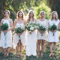 Casual bridesmaids: Mismatched Bohemian Bridesmaid Dresses