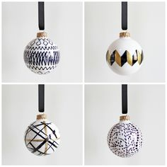 AM Dolce Vita: DIY Handpainted Holiday Ball Ornaments, Kelly Wearstler Channels ball ornament, Les Touches ball ornament, Art Deco ball ornament, Tasmanian tribal pattern