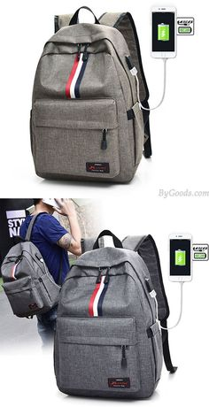 Leisure Red White Black Stripe USB Interface Large Travel Bag Student Bag  Canvas Backpack  backpack c10f1437c00d1