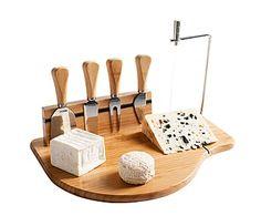 Set para aperitivos o quesos en bambú y acero inox