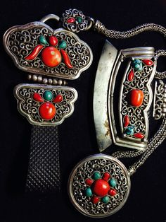 Mongol tinder pouch with toggle and belt pendant set. Filigree silver and chain, coral and turquoise inset. 19th century.
