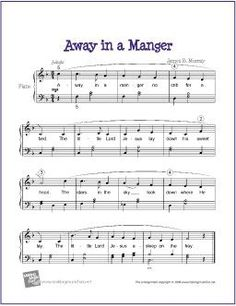 Away in a Manger (Christmas) | Free Sheet Music for Easy Piano - http://makingmusicfun.net/htm/f_printit_free_printable_sheet_music/away-in-a-manger-piano-solo.htm