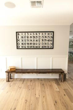 Simple seating area with BINGO sign - as featured on 'Rafterhouse' pilot show on HGTV.