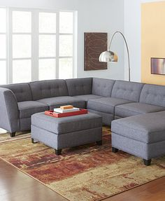 Harper Fabric Modular Living Room Furniture Collection with Sets & Pieces--5 piece in aqua