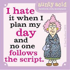 I hate it when i plan my day and no one follows the script.