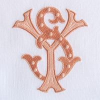 Lovely two letter monogram with two shades of coral by Caroline Brackenridge NYC