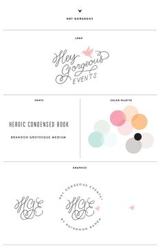 Like the emblem at the bottom with the initials of Hey Gorgeous, Hey Gorgeous Events on the top and the reference to By Rhi at the bottom.