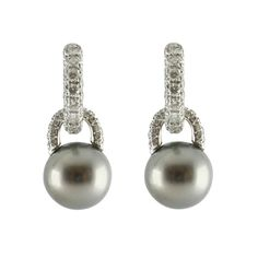 Mikimoto Black Pearl And Diamond Earrings | C W Sellors Fine Jewellery and Luxury Watches