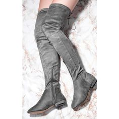 SpyLoveBuy Amaryllis Lace Up Block Heel Over Knee Tall Boots   Grey... (8.545 HUF) ❤ liked on Polyvore featuring shoes, boots, over-the-knee lace-up boots, tall boots, gray suede over the knee boots, suede thigh-high boots and grey suede over the knee boots