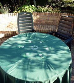 Tischdecke aus Sonnenschirm / Tablecloth made from parasol / Upcycling