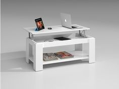 "Table basse "" Tyna "" - 100 x 50 x 43 cm - Blanc artic 94145 Table Élévatrice, Wood Furniture, Furniture Design, Furniture Ideas, Muebles Home, Room Design Bedroom, Lift Top Coffee Table, Office Desk, Sweet Home"