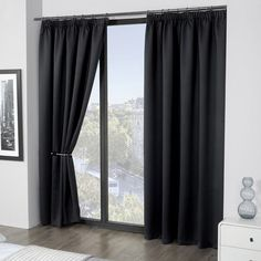 Luxury Thermal Supersoft Blackout Curtains Black 90 x 90(229cm x 229cm)