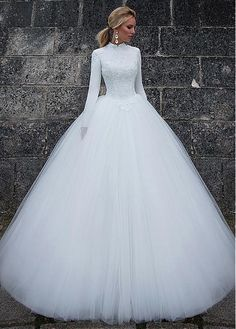 Vintage Satin High Collar Natural Waistline Ball Gown Wedding Dress With Lace Appliques