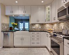 Updated Inexpensive Backsplash Creates a Stunning Kitchen: Kitchen Design With White Kitchen Cabinets And Inexpensive Backsplash Plus Kitchen Cabinet Hardware With Apron Sink And Tile Flooring