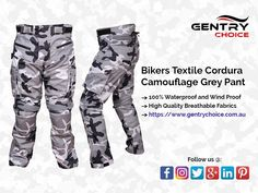 Textile Cordura camouflage bikers trouser in grey base colour comes with combination of style, comfort while riding, safety on road and weatherproof features making it a perfect biker's gear choice in all seasons. High grade quality abrasion resistant breathable 600D Cordura waterproof fabrics with removable thermal mesh lining, comfortable fitting, stretch panels, generous size pockets, enhanced thighs and knees protection are just a few features of this motorcycle pant Motorcycle Pants, Biker Pants, Cargo Pants, Grey Camo Pants, Biker Style, Waterproof Fabric, Getting Wet, Velcro Straps, Camouflage