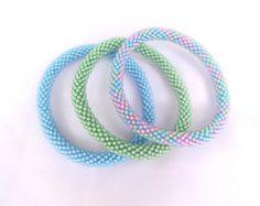 Neon Pink Green  Handmade Beaded Bracelets SetSeed