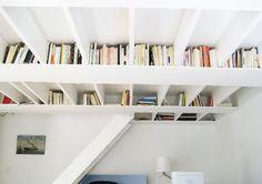 bookshelf in the ceiling