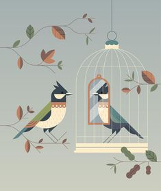 Editorial illustration about your ego getting in the way of empathy. #illustration #vector #flatvector #birds