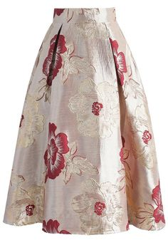Magnificent Peony Jacquard Midi Skirt in Red- New Arrivals - Retro, Indie and Unique Fashion