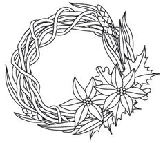 """""""Winter's Arrival Wreath"""" As the air gets colder, holiday festivities warm things up. Celebrate with this wreath that's lovely all holiday season long! Downloads as a PDF. Use pattern transfer paper to trace design for hand-stitching. - UTH7119 (Hand Embroidery) 00561357-110513-2034-4"""