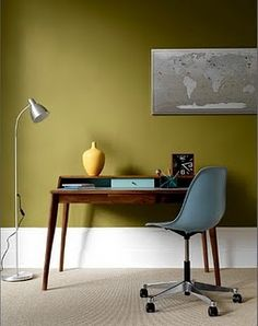 "Avocado walls, modernist desk, and turquoise chair.  Graham Atkins-Hughes To see more of the color-saturated wall trend, follow Jill Jordan's board ""Jewel-tone Rooms""."