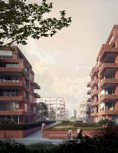 Eiswerder Quarter, Berlin – kleihues+kleihues Big Building, Building Exterior, Residential Complex, Residential Architecture, Plant Troughs, Berlin, Architecture Visualization, Architecture Drawings, Arch House
