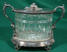 Pairpoint Manufacturing Quadruple Plate | Beautiful Old Silverplate Silver Plate Footed Cut Glass Biscuit Barrel ...