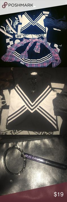 b&w Teamwork athl Apparel Cheer Uniform. Flawless✨ Nwot🔥, Great 4 practice, great 4 a costume, great 4 performance! Blank shell & skirt,ready 4 personalization. Skirt Features; Knife pleat design, Flat front adjustable waist w/back zipper,Coordinating stripe trim &Reinforced construction. Shell Features; Contrasting body panel Coordinating trim, Reinforced construction, Solid colored back.Perfect 4 😍🔥 photoshoots, events &🛌! 😵🙈 trick or treating & NEthibg else u can think of! I bought…