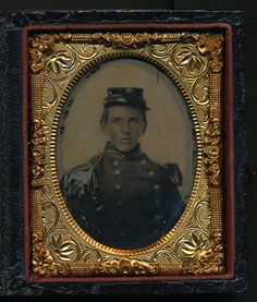 Ninth plate tintype of a possible soldier of the 5th Georgia Volunteers.  He wears an early war militia uniform with six-pointed star on his kepi.