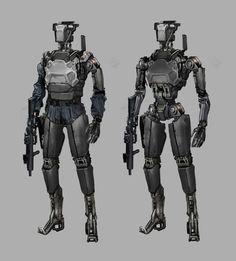 un robot soldier concept art Futuristic Robot, Futuristic Armour, Futuristic Vehicles, Star Wars Droids, Star Wars Rpg, Robots Characters, Star Wars Characters, Robot Picture, Combat Robot
