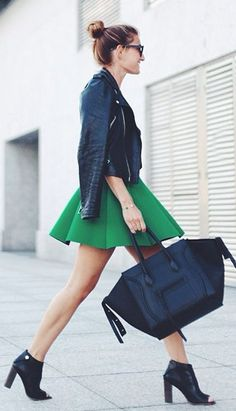 Green Pleated A-skirt