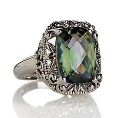 "Orvieto Silver 5.5ct Green ""Princess"" Quartz Sterling Silver Ring at HSN.com."