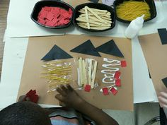 """Three Little Pigs Art- Think I would use raffia instead of the spaghetti noodles for the """"straw"""" house"""