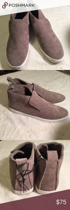 NWOT Dolce Vita Xai Suede High-top Sneaker, Gray Killer suede sneakers: slip on, thick leather, some scuffs on soles, line through label, pictured. W/o box.  Great shoes! Navy or Gray Dolce Vita Shoes Sneakers