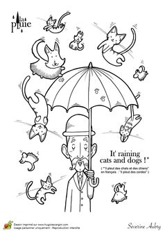 Nice Coloriage du proverbe il pleut des cordes version anglaise Hugolescargot