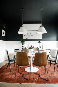 Black dining room with white tulip table. Mixed dining room chairs One Room Challenge Dining Room Design, Dining Room Chairs, Dining Area, Dining Rooms, Leather Dining Chairs, Dining Tables, Coffee Tables, Home Interior, Interior Decorating