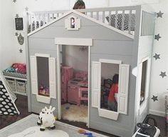 Купить Кровать домик - комбинированный, кровать домик, кровать из дерева, кровать для девочки, кровать для мальчика