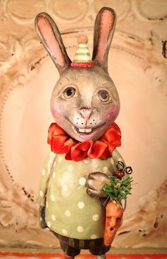 Folk Art One of a Kind bunny Rabbit Vintage by FolkArtByPenny, $74.99