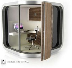 Outdoor/garden office pod is a great solution for dealing with the noise in the house for those who work from home. Also if there is no room in the house for a whole office a garden office pod solves the problem by creating an effective working space. Office Pods, Tiny Office, Corner Office, Office Cube, Smart Office, Garden Office Shed, Backyard Office, Outdoor Office, Prefab Office